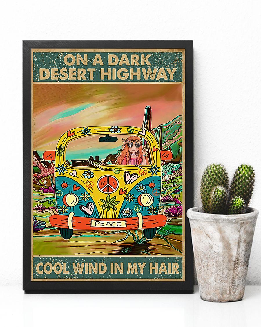 hippie girl on a dark desert highway cool wind in my hair vintage poster 4