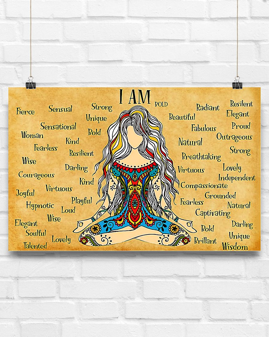 hippie girl yoga i am kind lovely strong proud unique poster 3