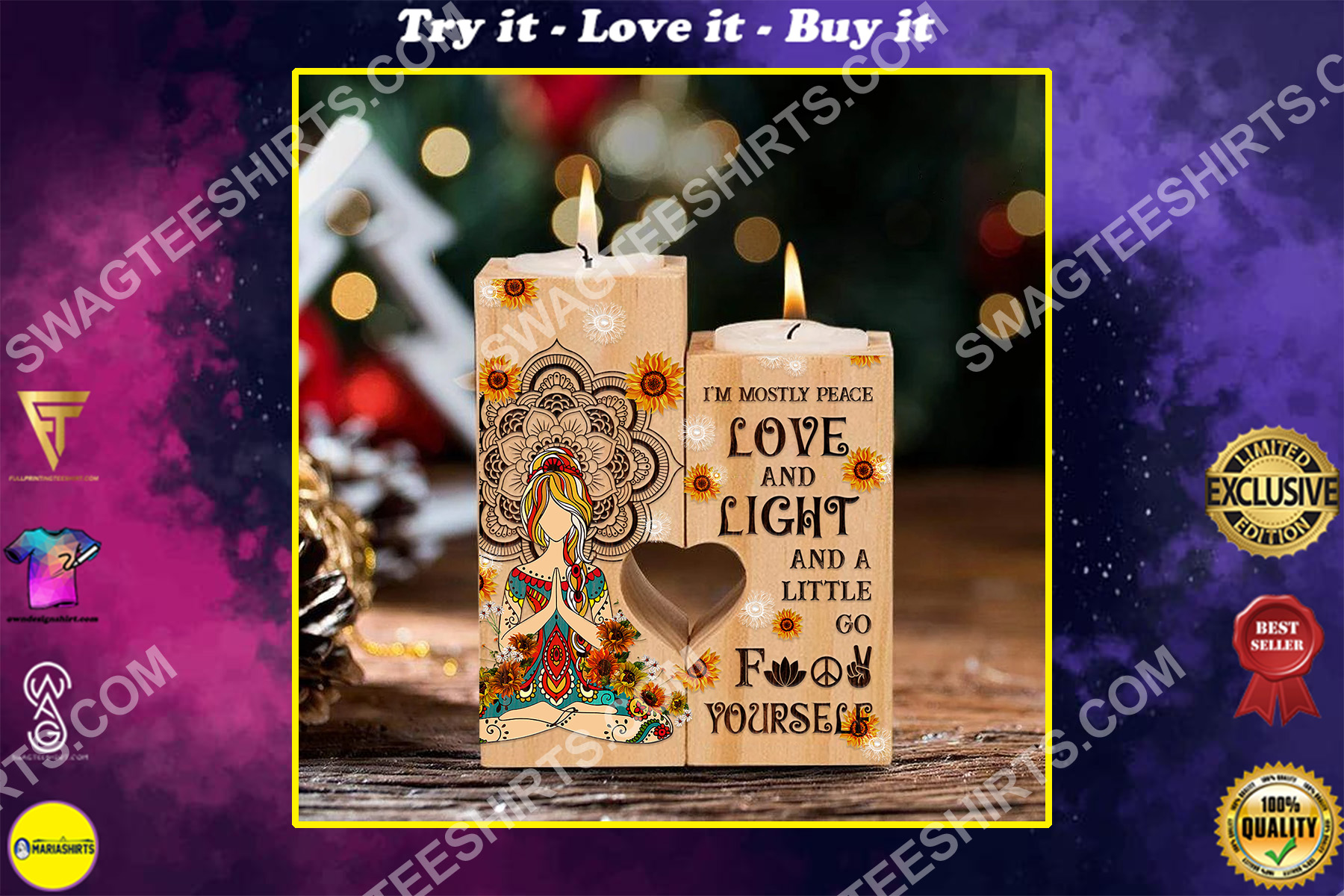 hippie girl yoga im mostly peace love and light candle holder