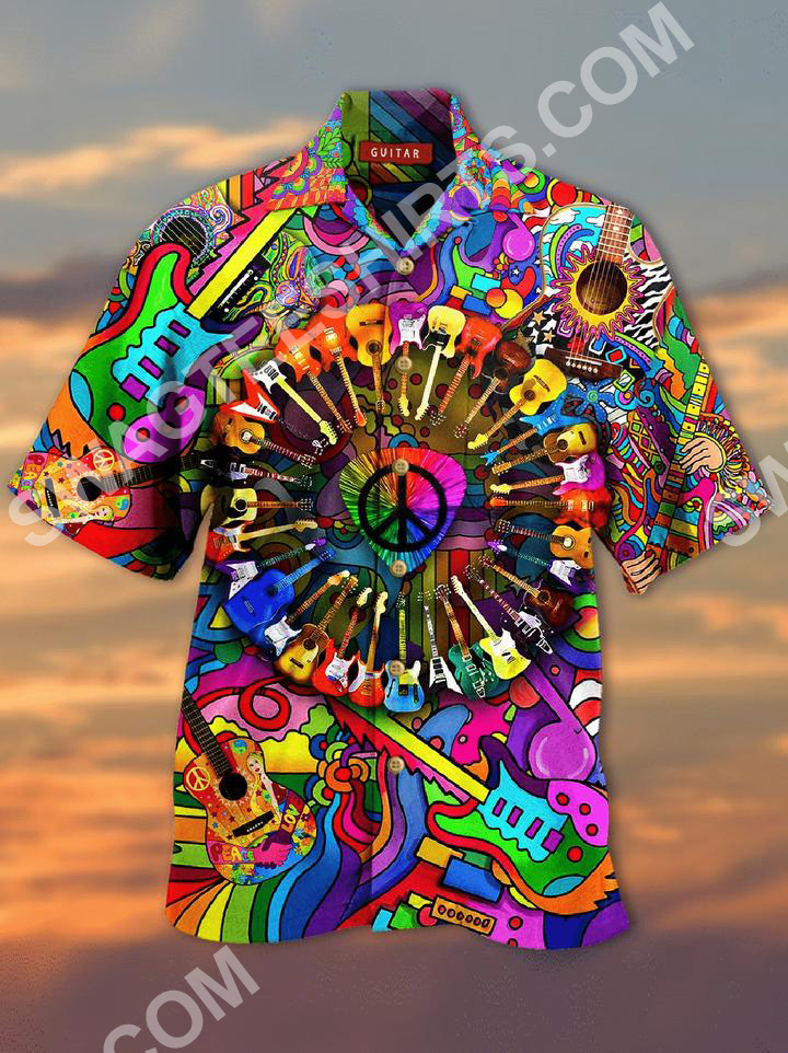 hippie guitar colorful all over printed hawaiian shirt 2(3) - Copy