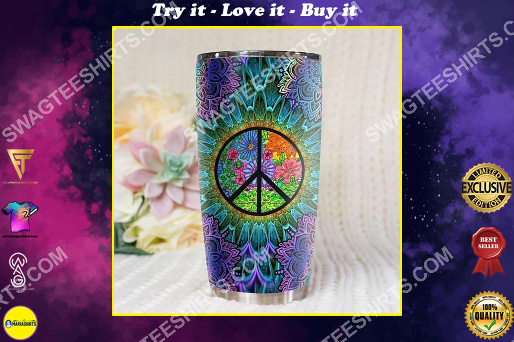 hippie peace colorful all over printed stainless steel tumbler