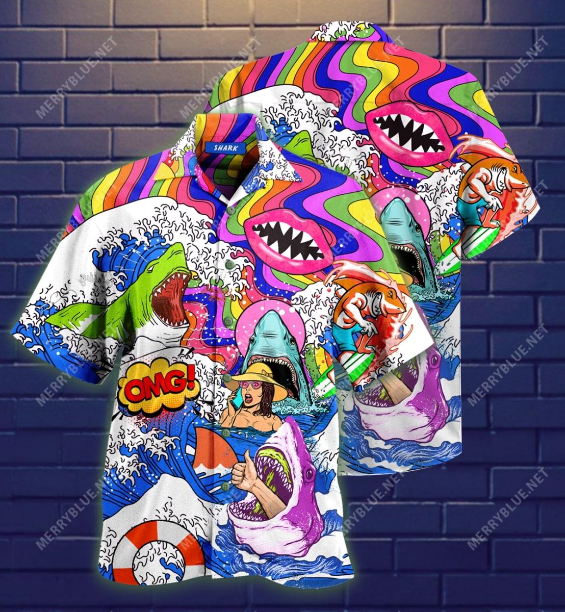 hippie shark on sea all over printed hawaiian shirt 3