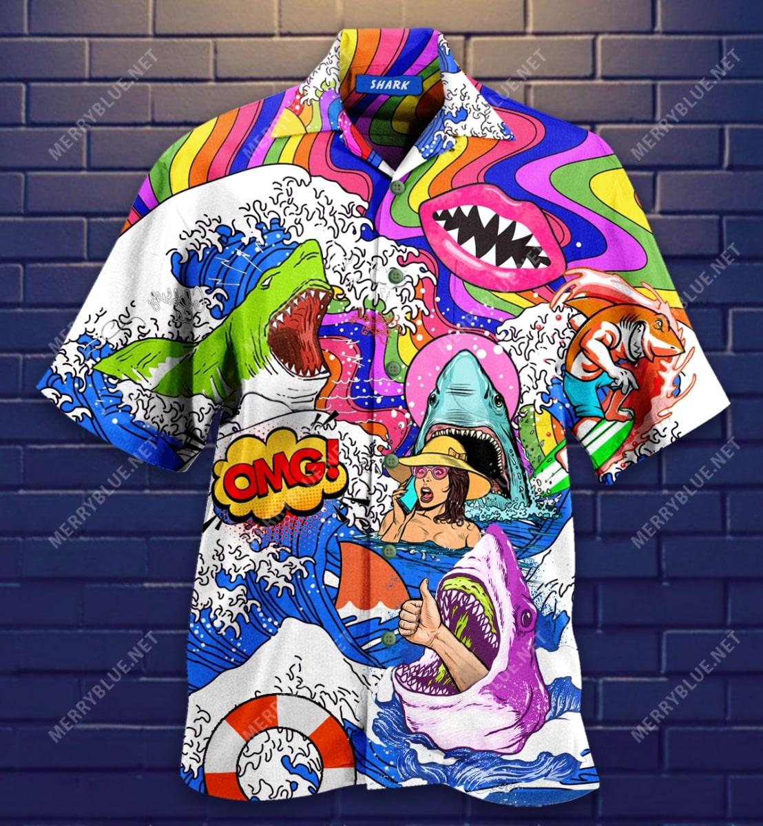 hippie shark on sea all over printed hawaiian shirt 4