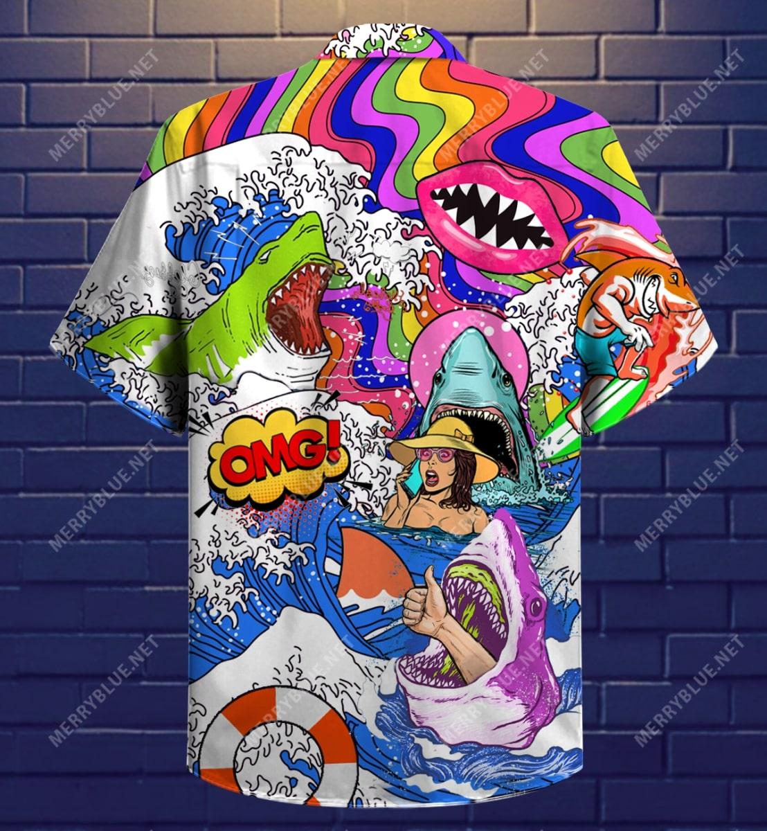 hippie shark on sea all over printed hawaiian shirt 5