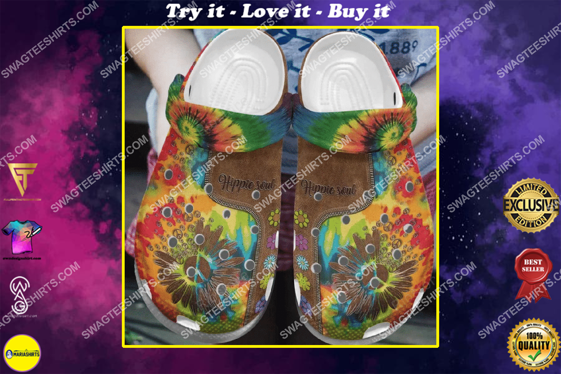 hippie soul all over printed crocs crocband clog