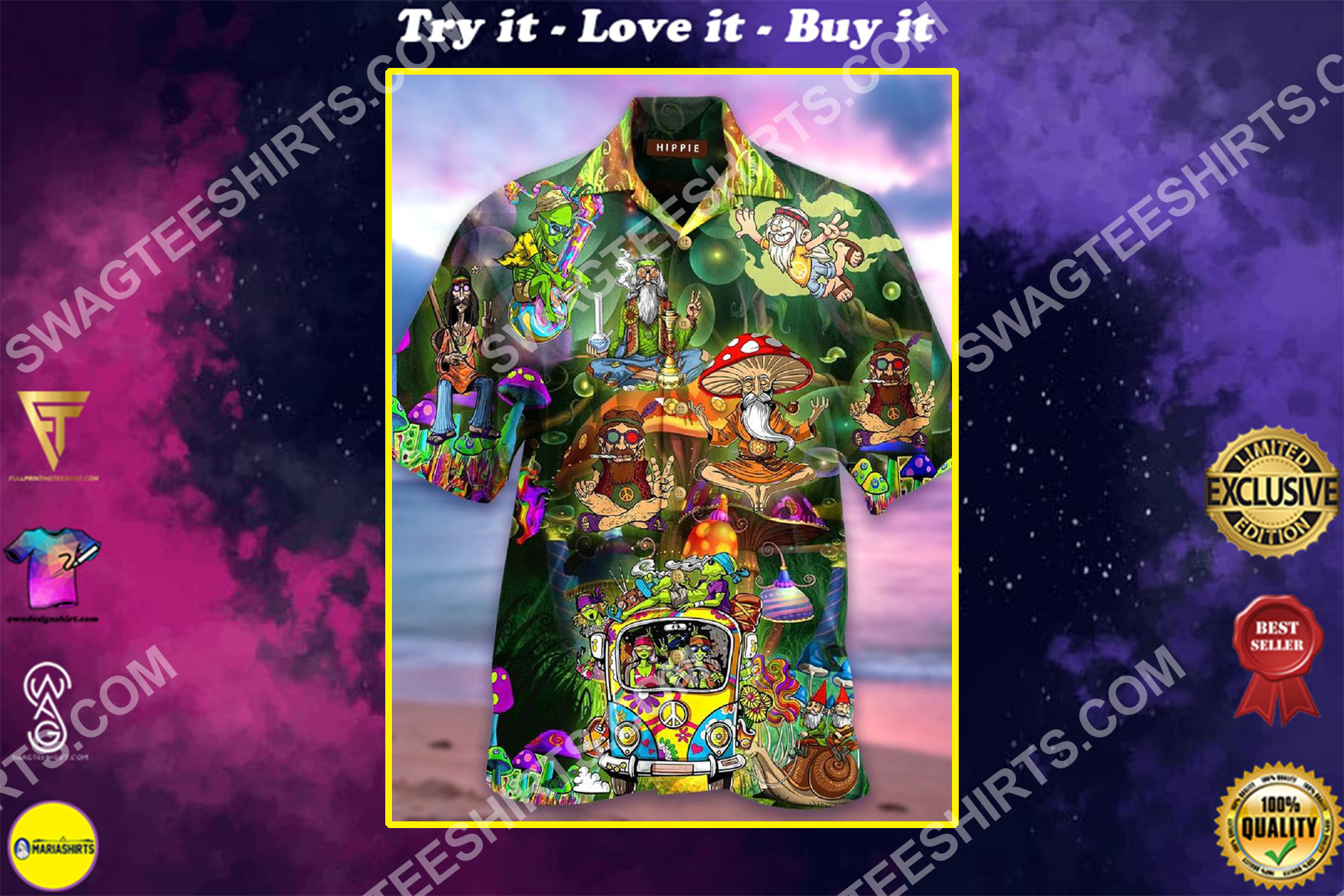 hippie style all over printed hawaiian shirt