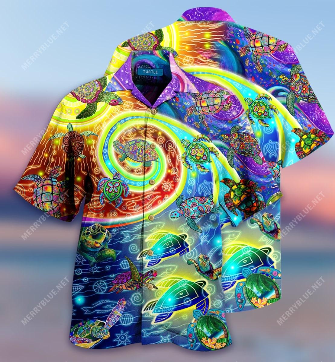 hippie turtles waves all over printed hawaiian shirt 2