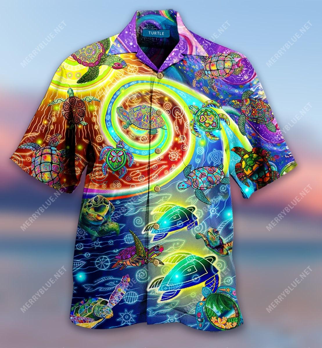hippie turtles waves all over printed hawaiian shirt 4