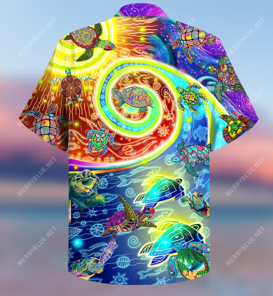 hippie turtles waves all over printed hawaiian shirt 5