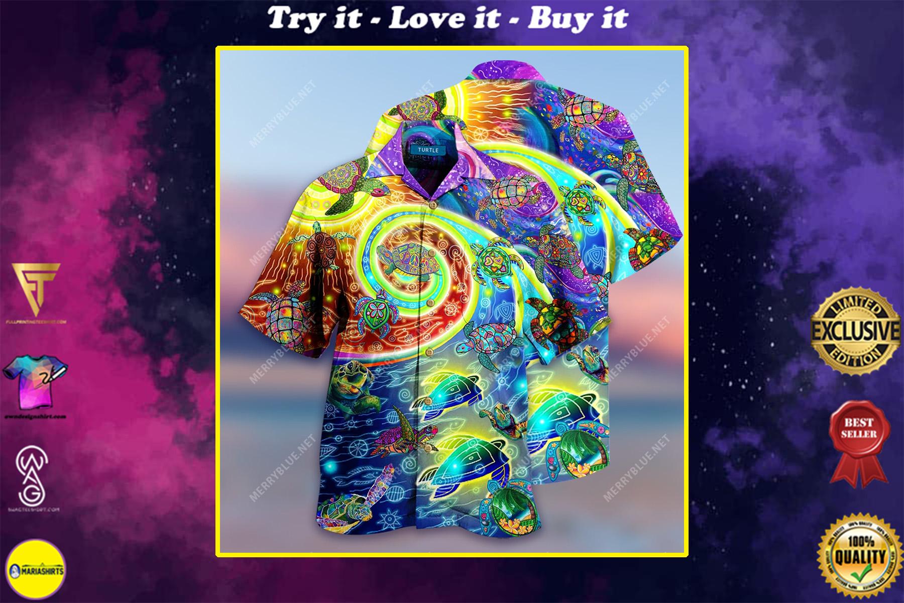 hippie turtles waves all over printed hawaiian shirt