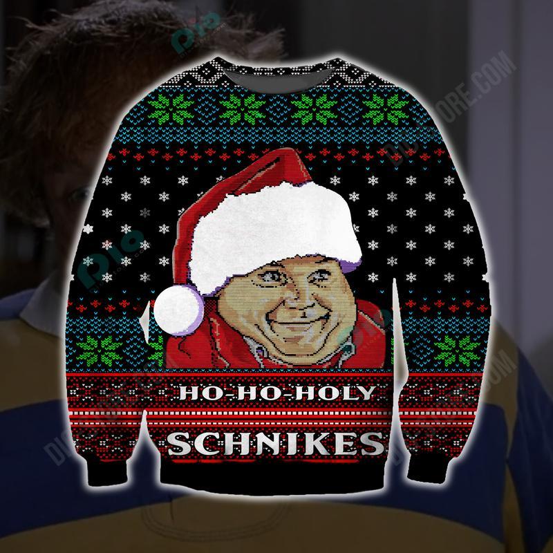 ho-ho-holy schnikes santa all over printed ugly christmas sweater 2