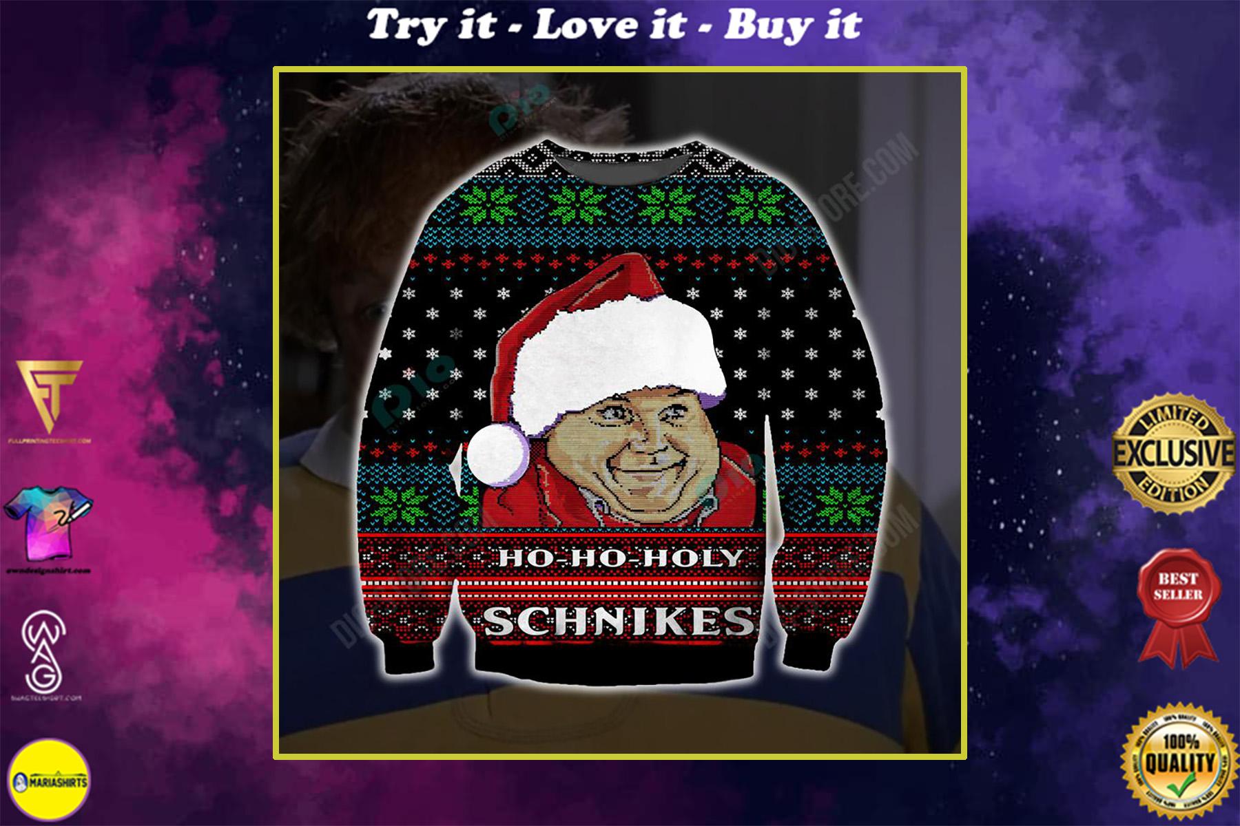 ho-ho-holy schnikes santa all over printed ugly christmas sweater