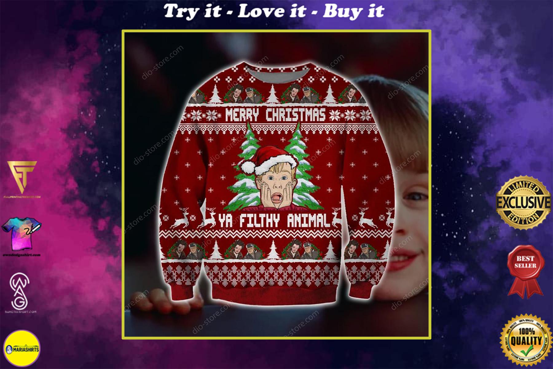 home alone ya filthy animal merry christmas ugly christmas sweater
