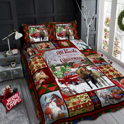 horse all hearts come home for christmas all over print bedding set 2