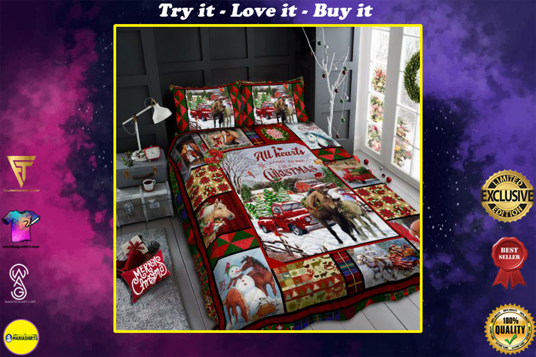 horse all hearts come home for christmas all over print bedding set