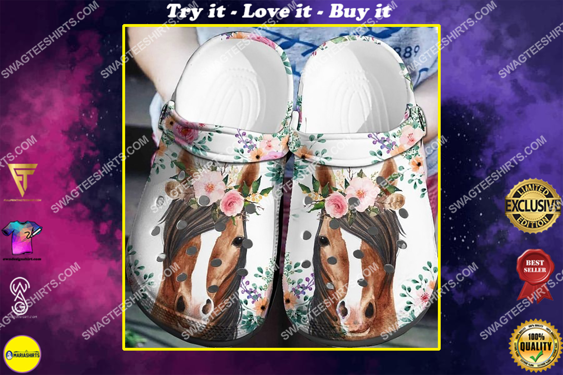 horse and flower all over printed crocs