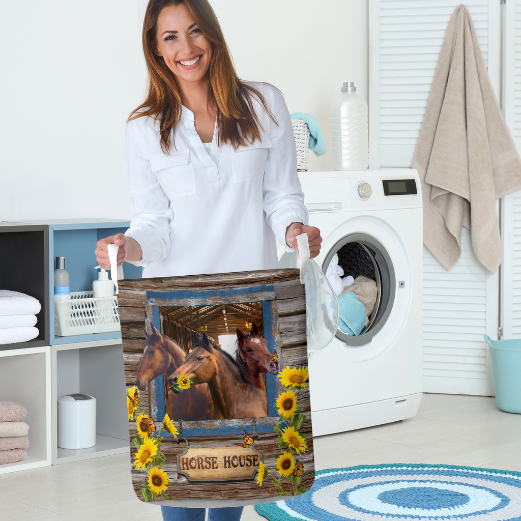 horse house all over printed laundry basket 5