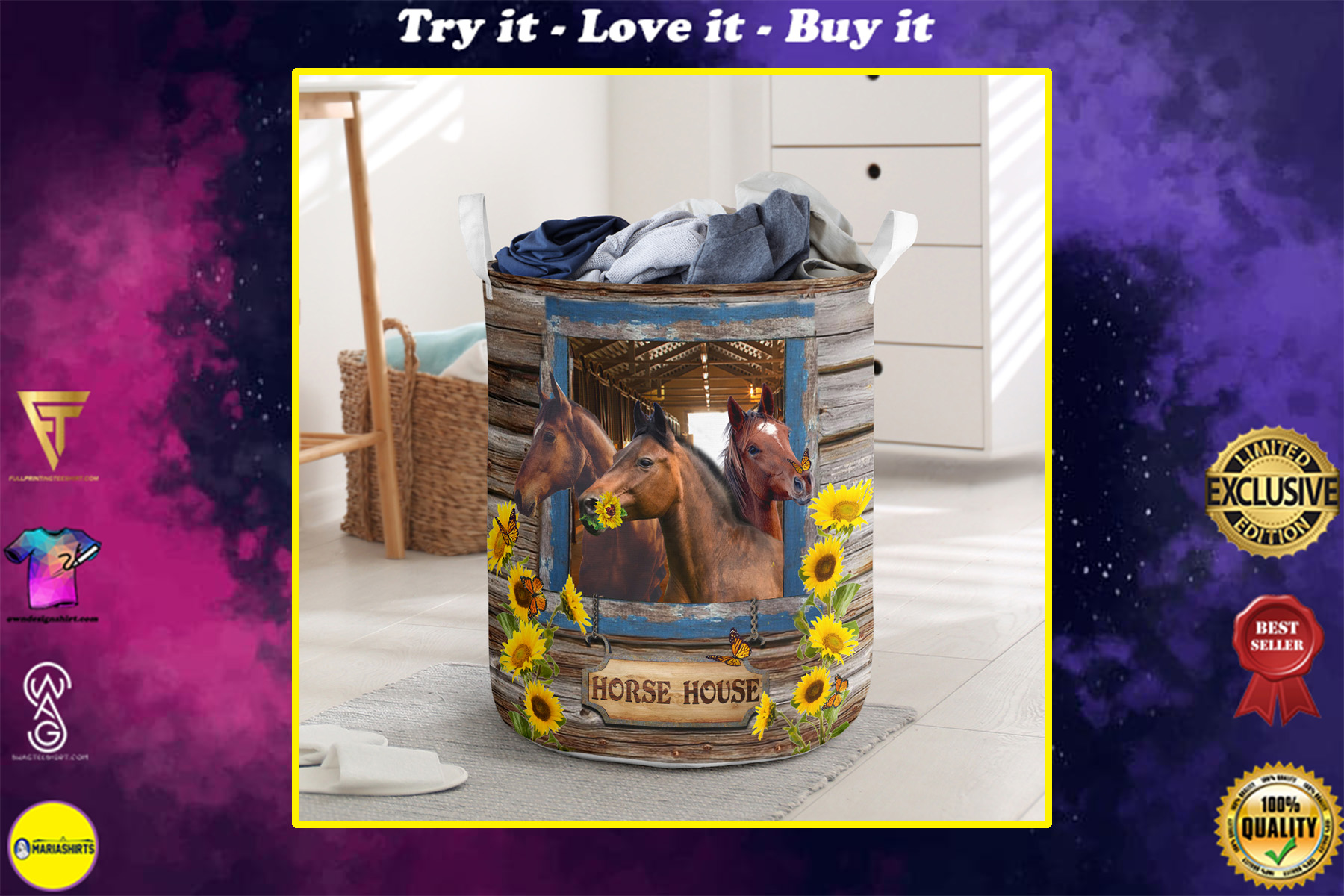 horse house all over printed laundry basket