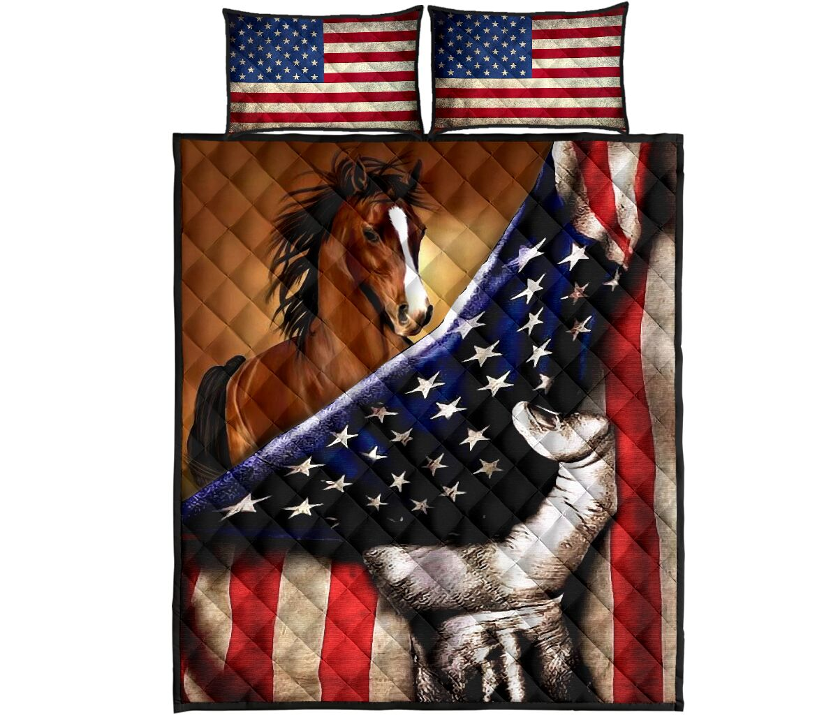 horse in american flag full over print quilt 1