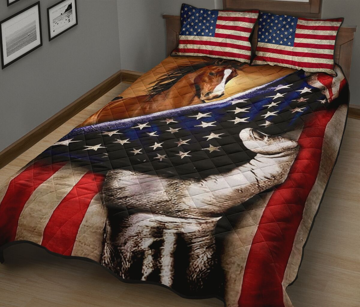 horse in american flag full over print quilt 3