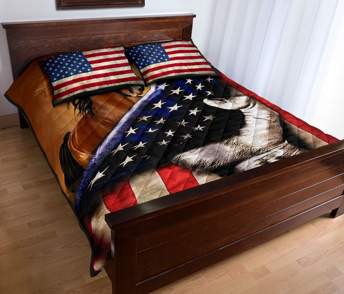 horse in american flag full over print quilt 4
