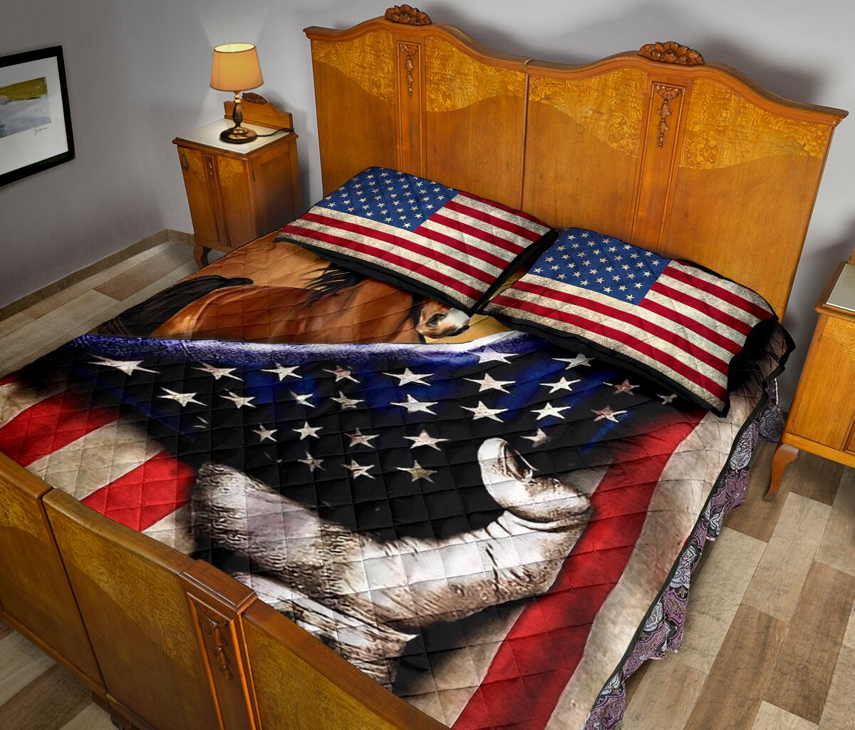 horse in american flag full over print quilt 5