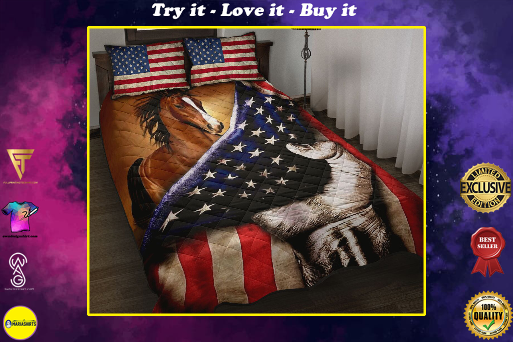 horse in american flag full over print quilt