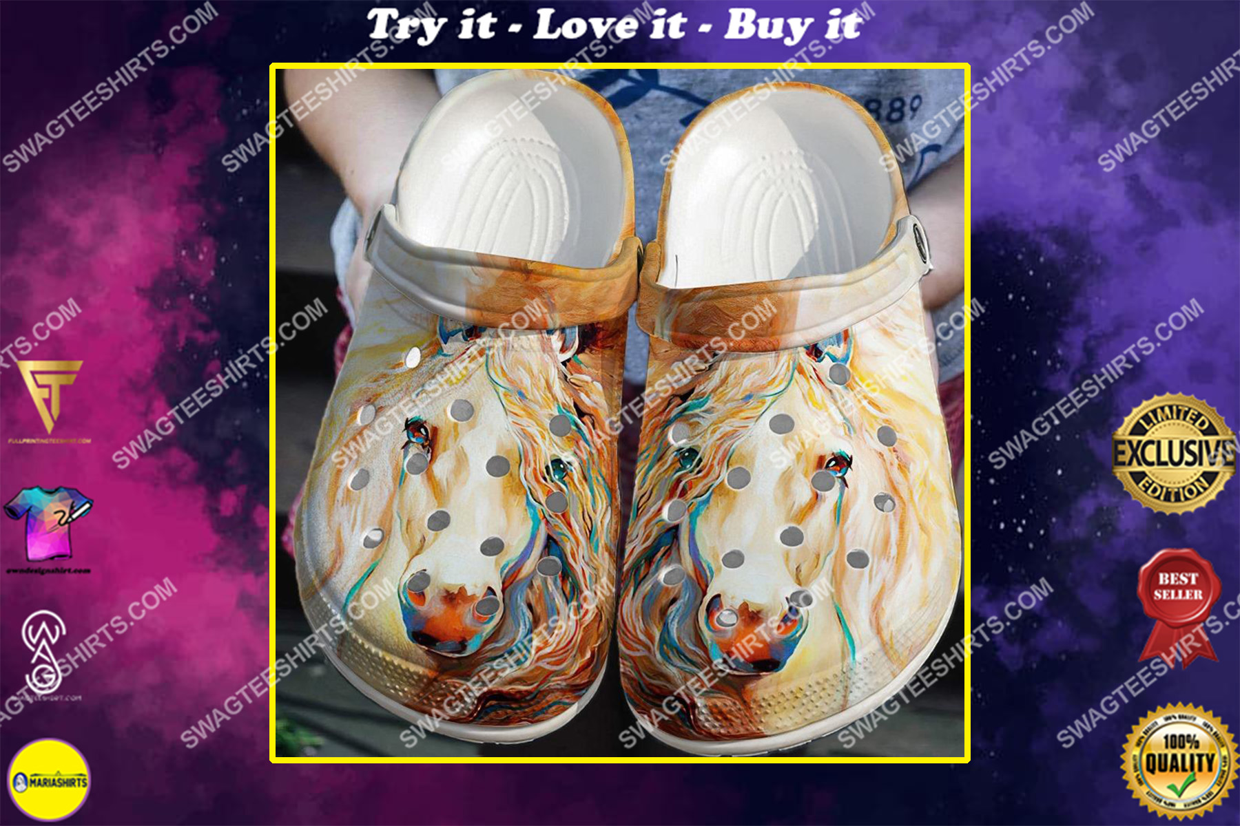 horse lover watercolor all over printed crocs