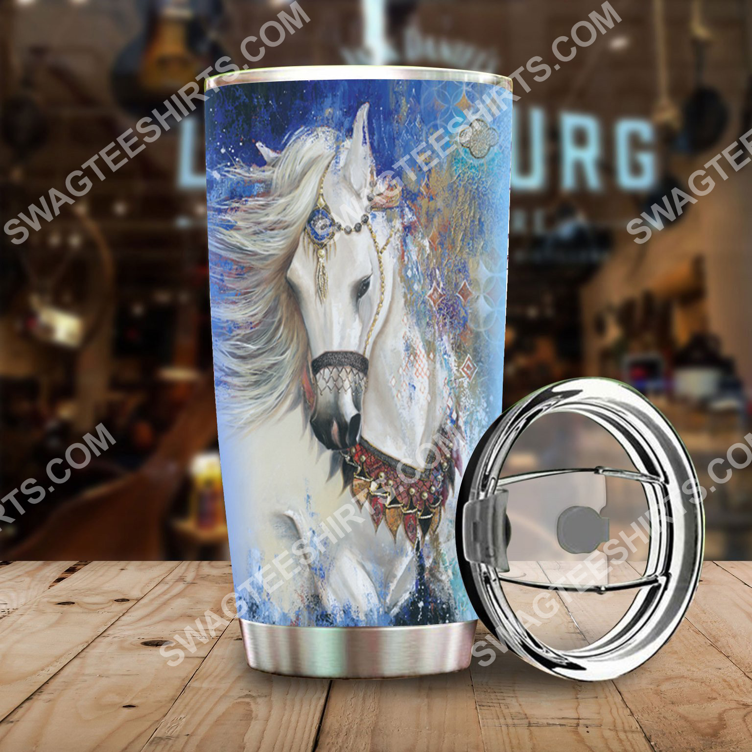 horse native american all over printed stainless steel tumbler 2(1)