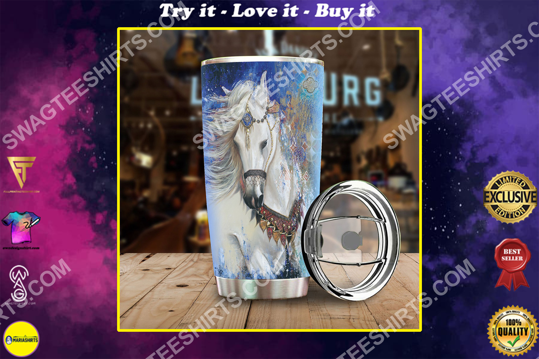 horse native american all over printed stainless steel tumbler