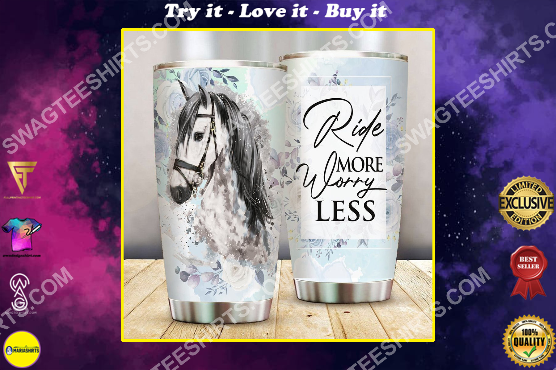 horse ride more worry less all over printed stainless steel tumbler