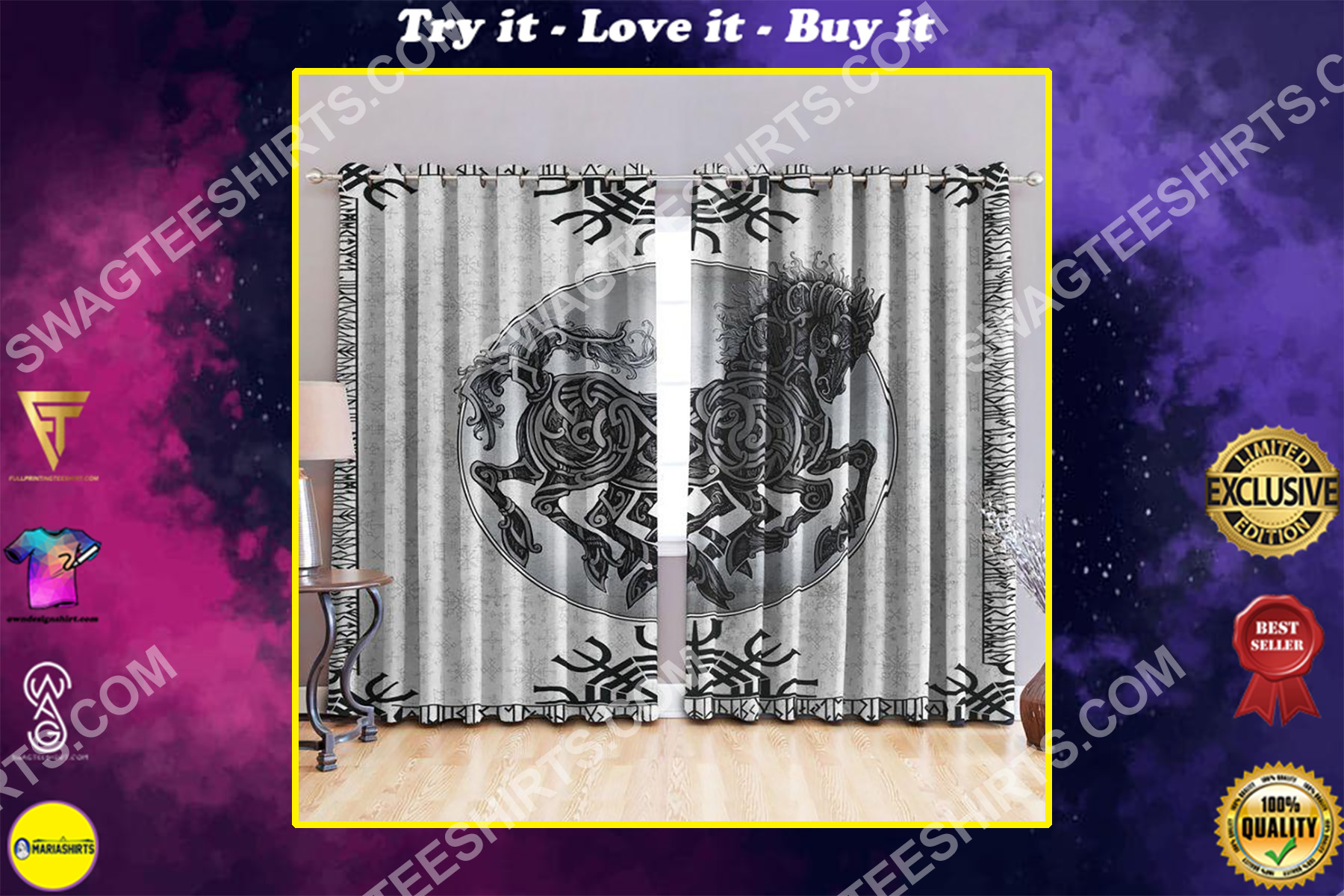 horse viking all over printed window curtains