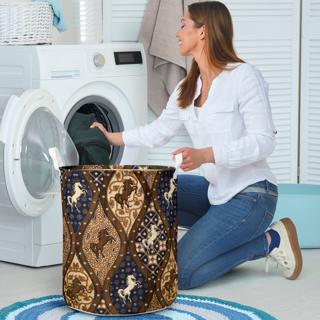 horse wood border all over printed laundry basket 4