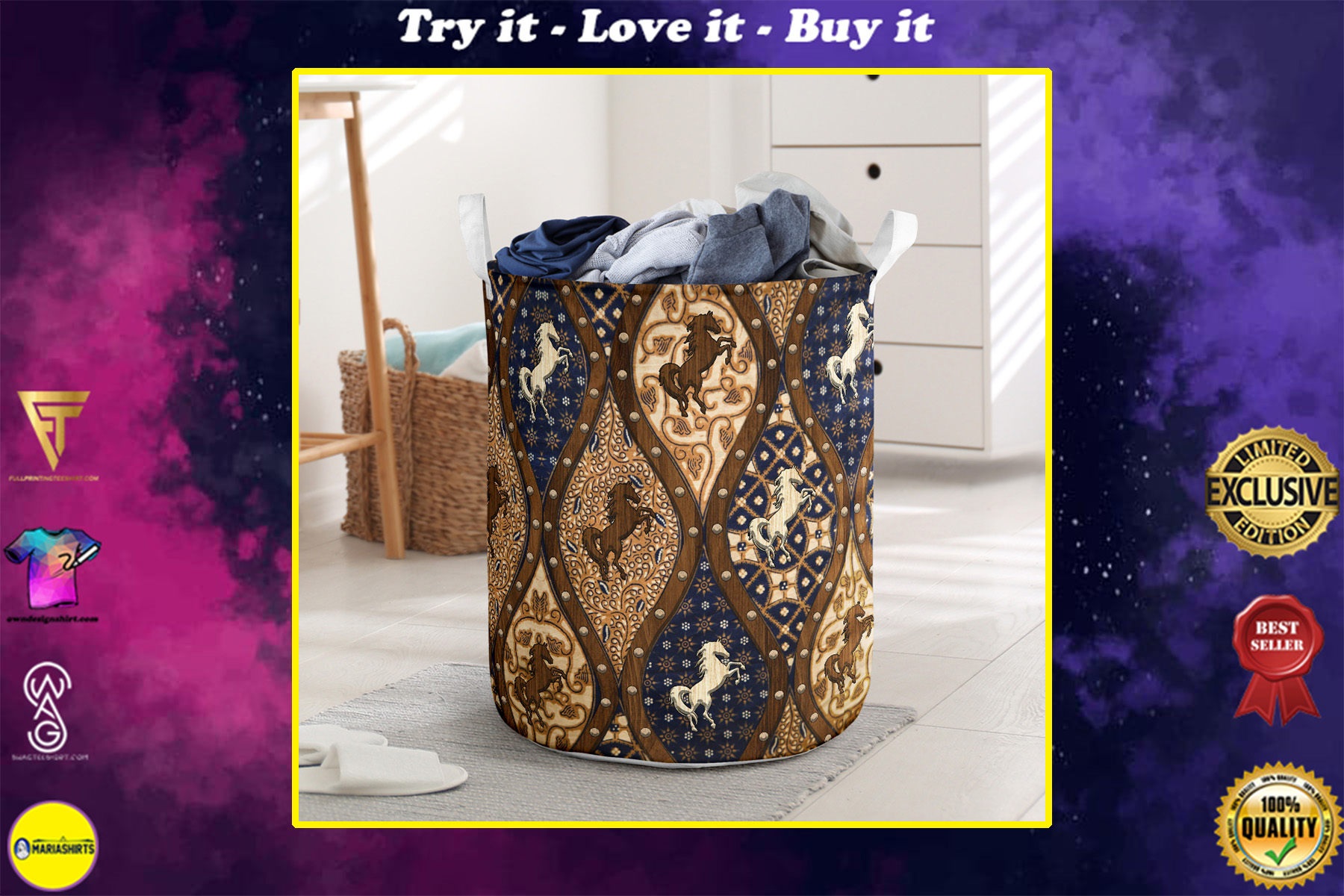 horse wood border all over printed laundry basket