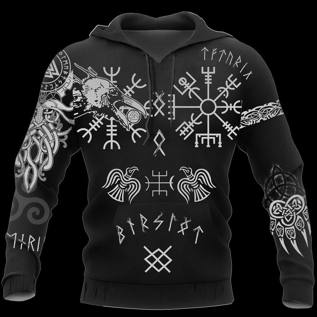 hugin and munin viking tattoo all over printed hoodie
