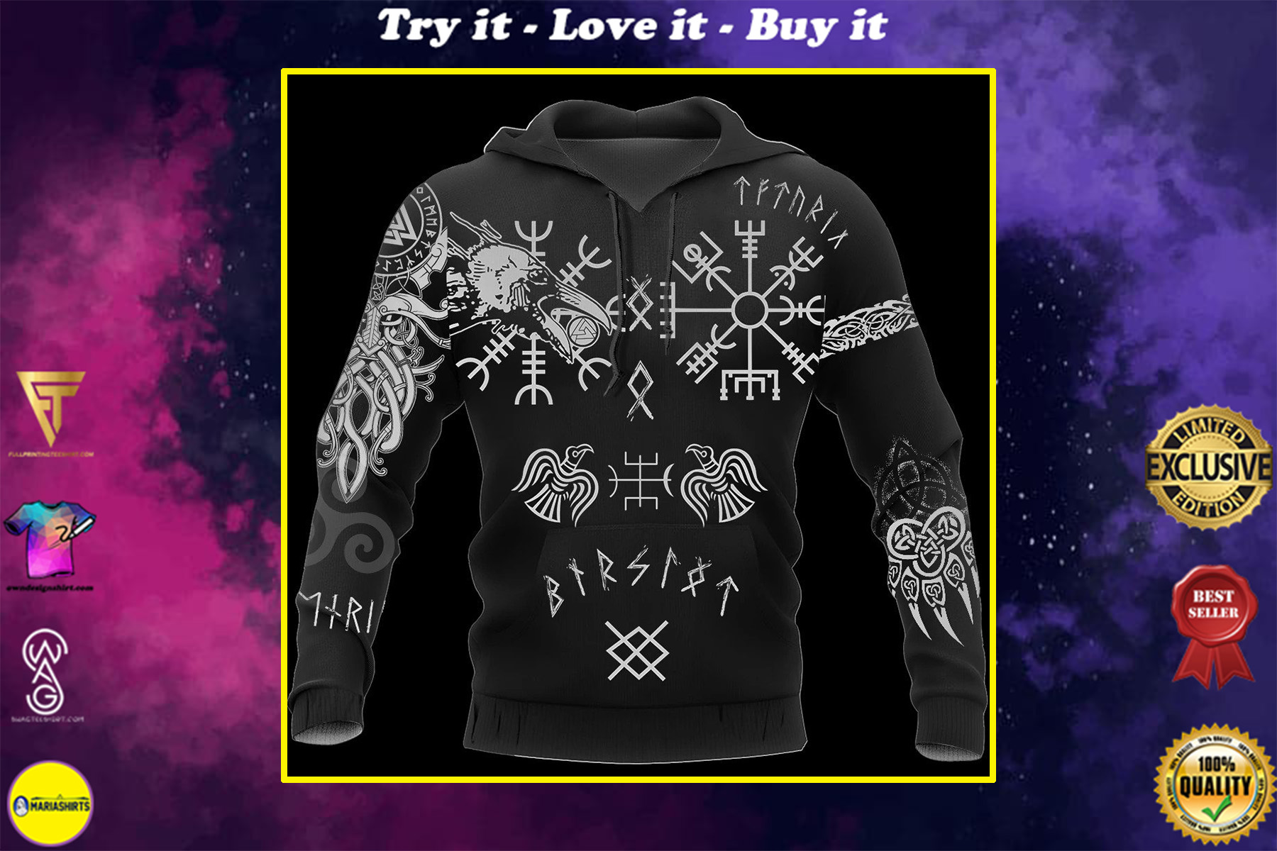 hugin and munin viking tattoo all over printed shirt