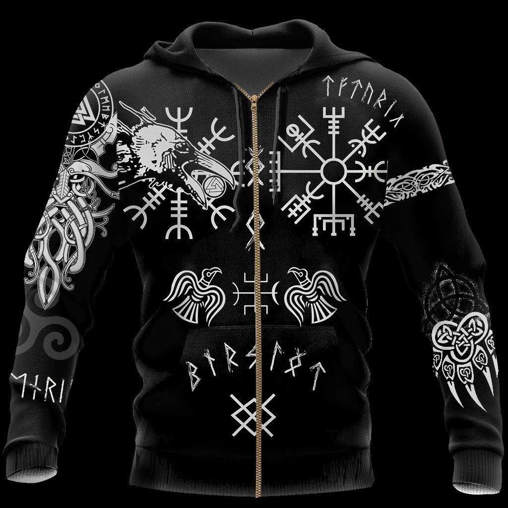 hugin and munin viking tattoo all over printed zip hoodie
