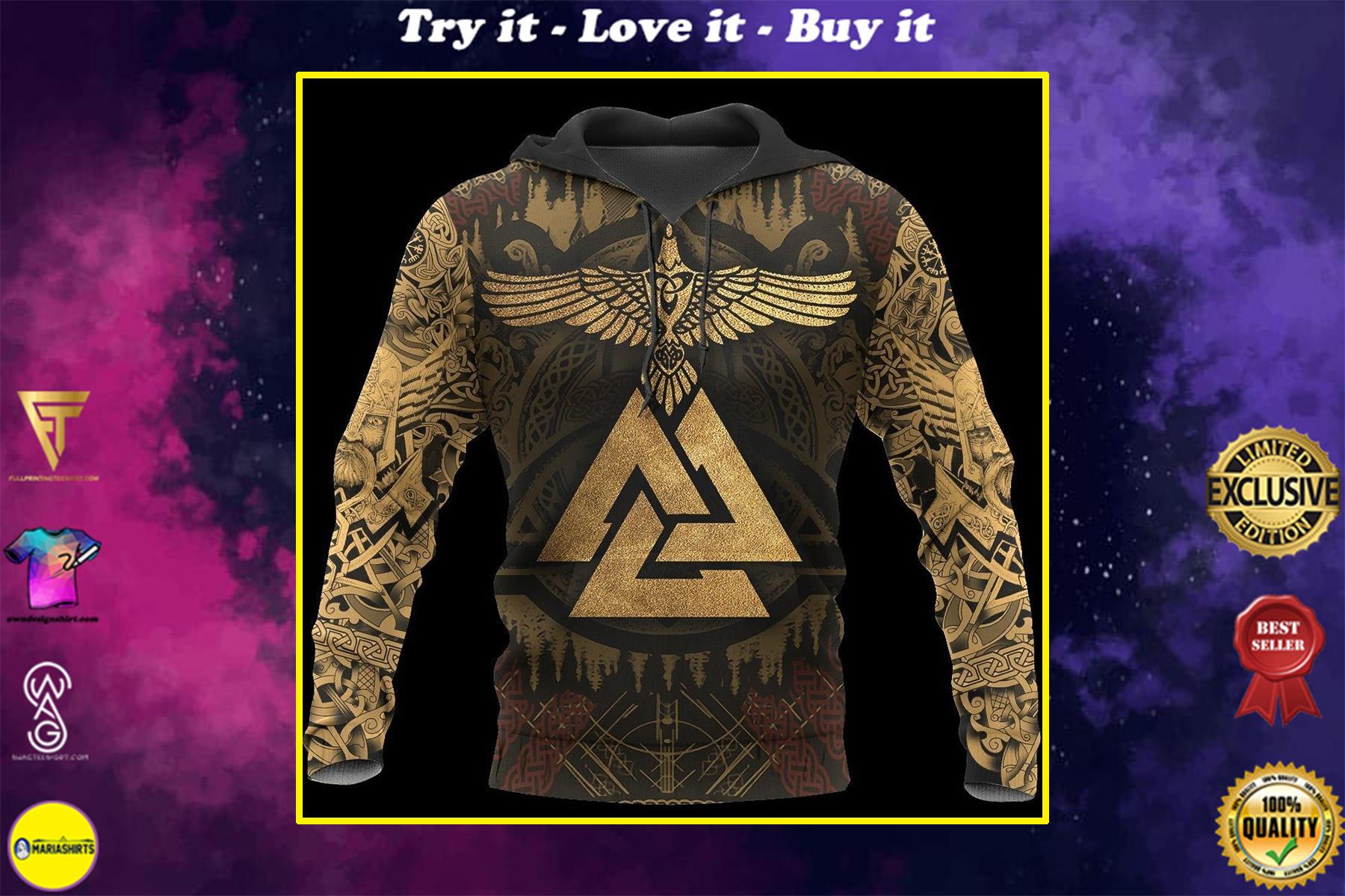 huginn viking symbol all over printed shirt