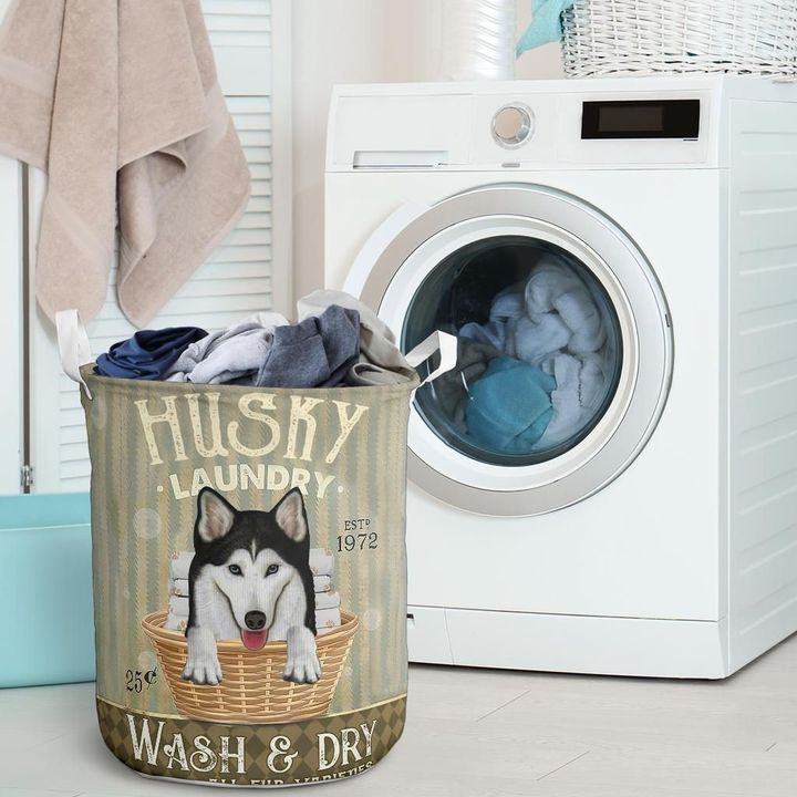 husky wash and dry all over print laundry basket 2