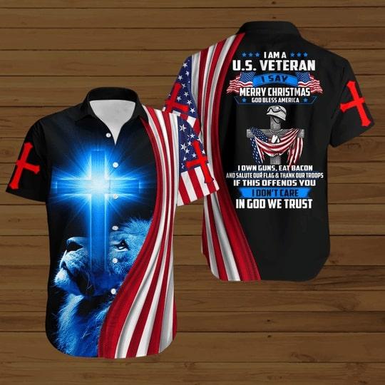 i am a us veteran i say merry christmas God bless america all over printed hawaiian shirt 2