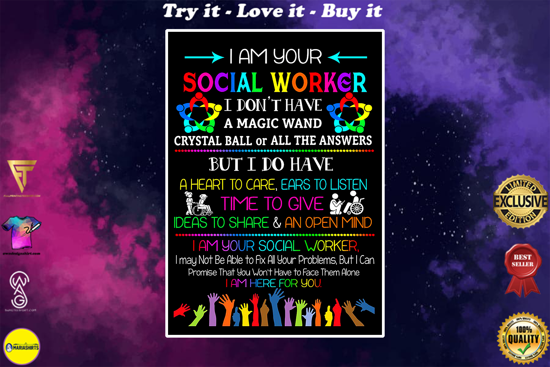 i am your social worker i am here for you poster