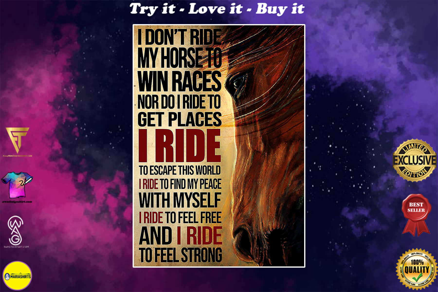 i dont ride my horse to win races i ride to feel strong vintage poster