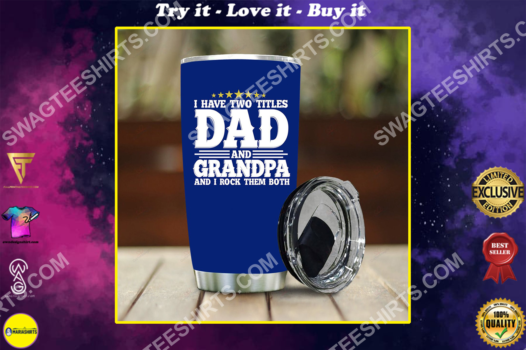 i have two titles dad and grandpa i rock them both all over printed stainless steel tumbler