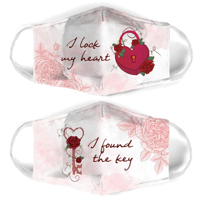 i lock my heart for couple love all over print face mask 3