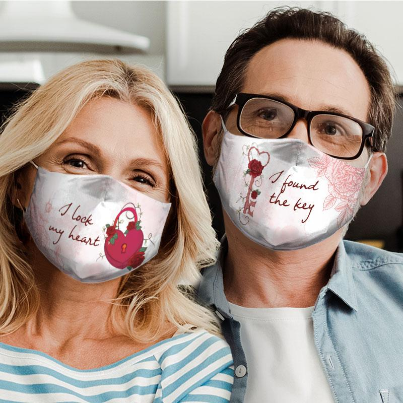 i lock my heart for couple love all over print face mask 4