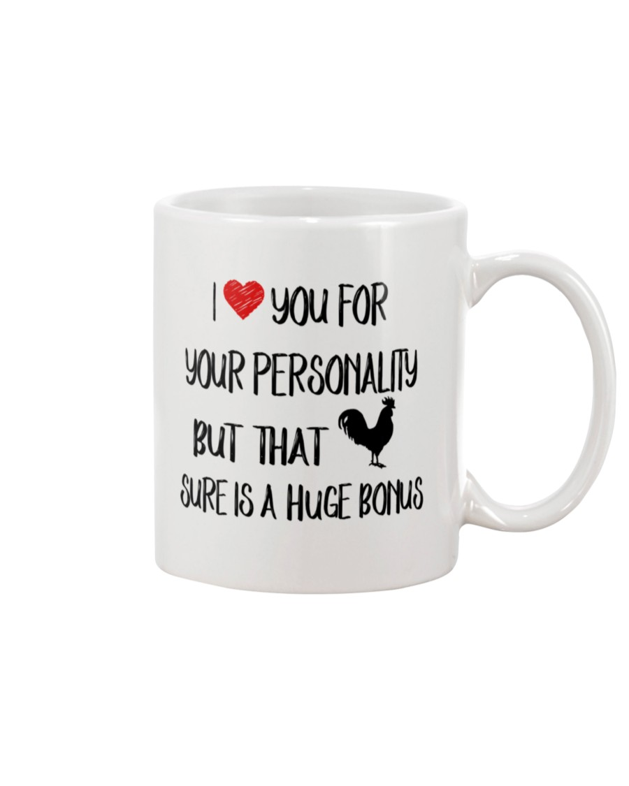 i love you for your personality but that chick is a huge bonus happy valentine's day mug 3