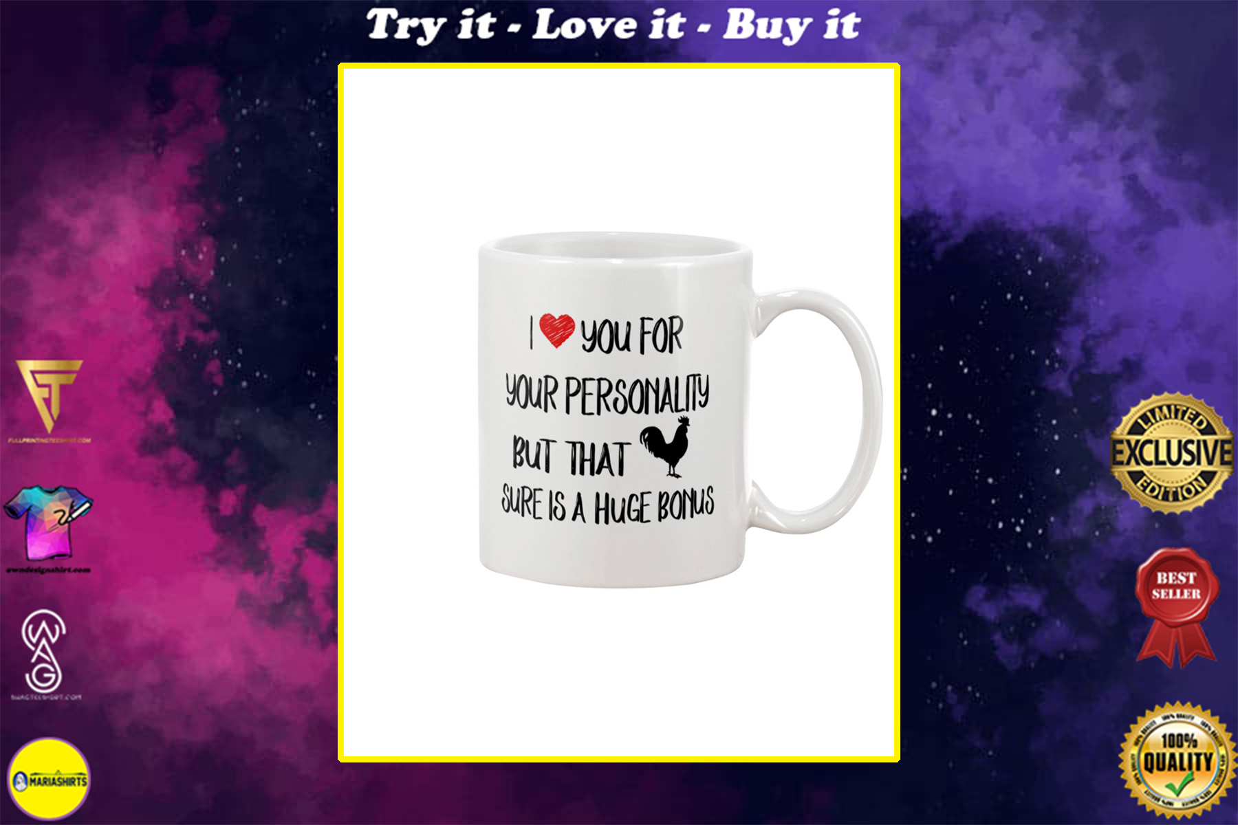 i love you for your personality but that chick is a huge bonus happy valentine's day mug
