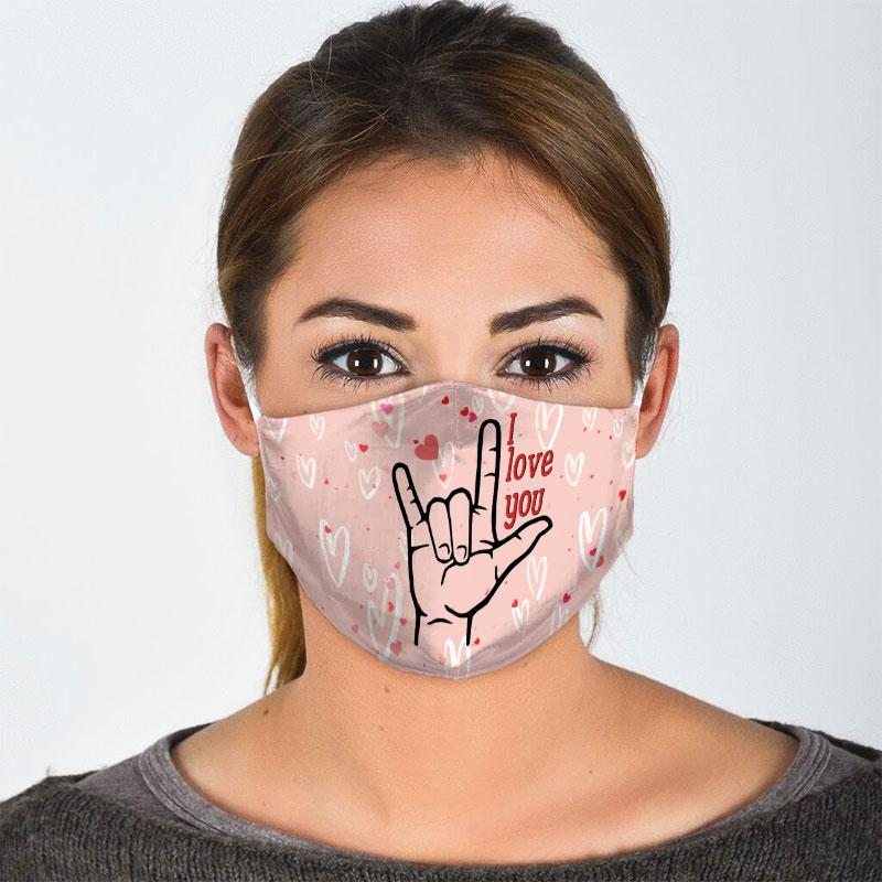 i love you sign language all over print face mask 2