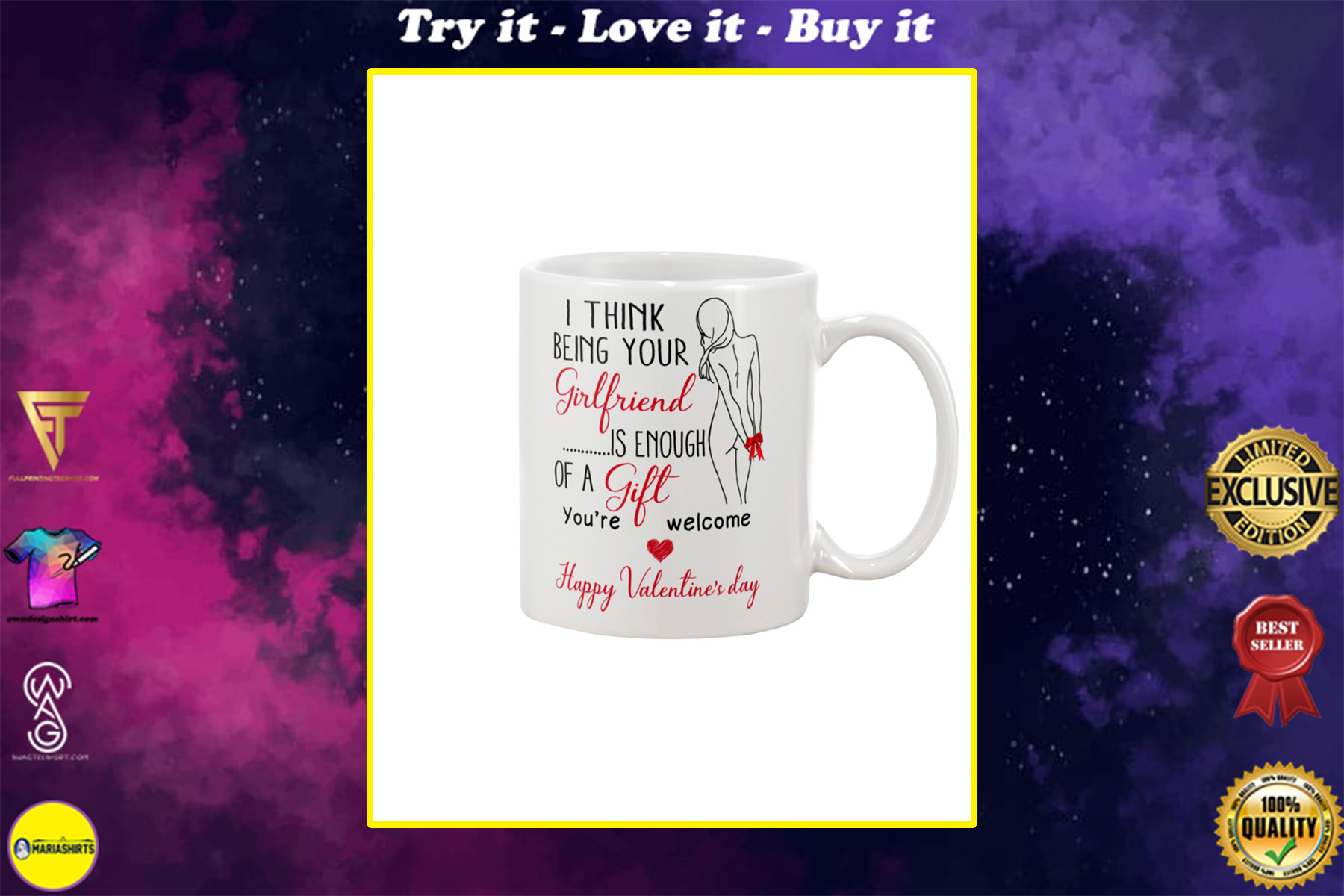 i think being your girlfriend is enough of a gift happy valentine's day mug