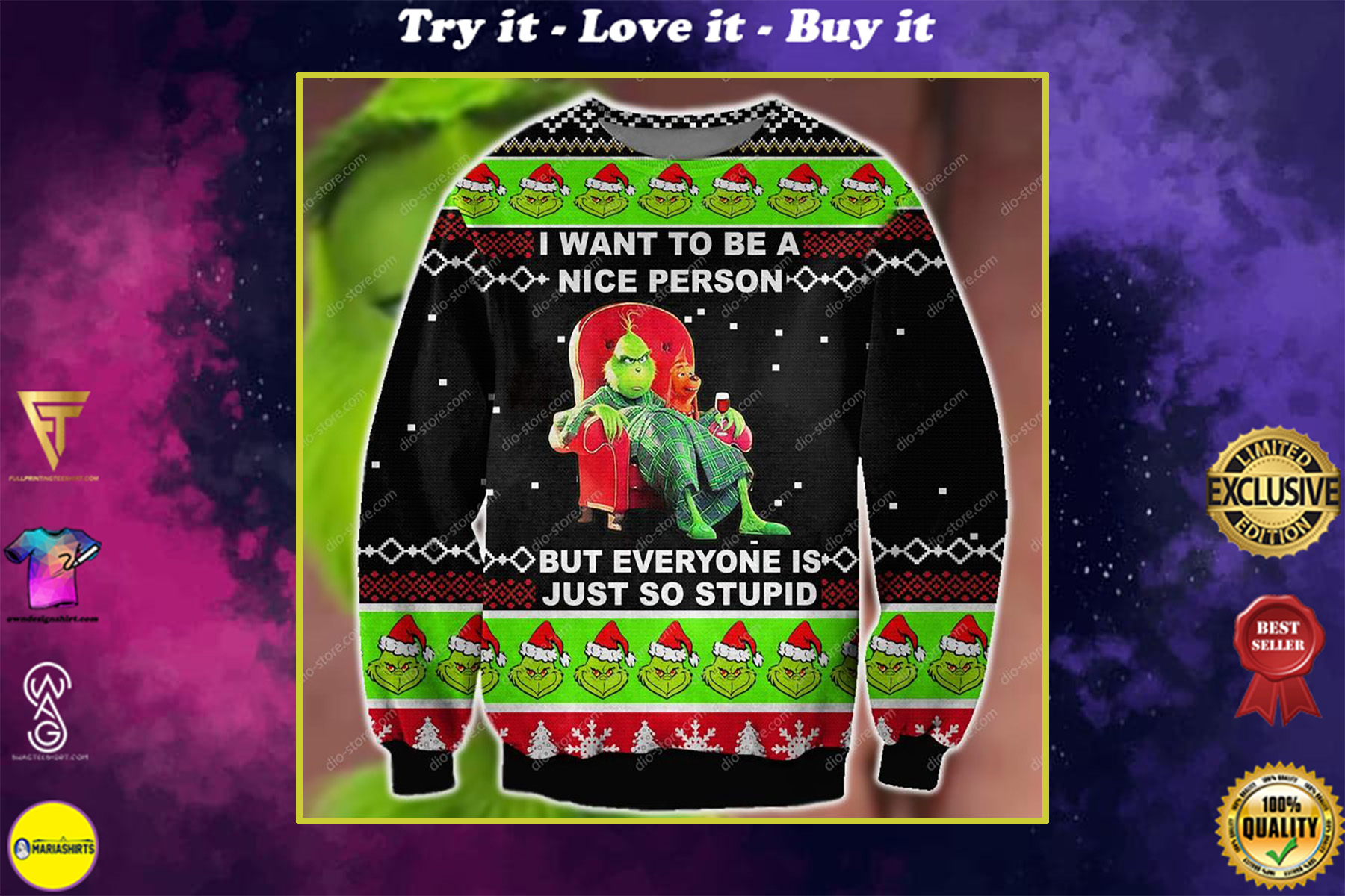 i want to be a nice person but everyone is just so stupid ugly christmas sweater